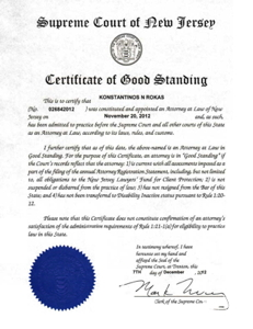 NJ Certificate of Good Standing